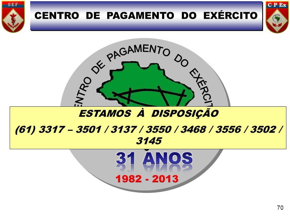 CPEx CENTRO DE PAGAMENTO DO EXÉRCITO 70 ESTAMOS À DISPOSIÇÃO (61) 3317 – 3501 / 3137 / 3550 / 3468 / 3556 / 3502 / 3145