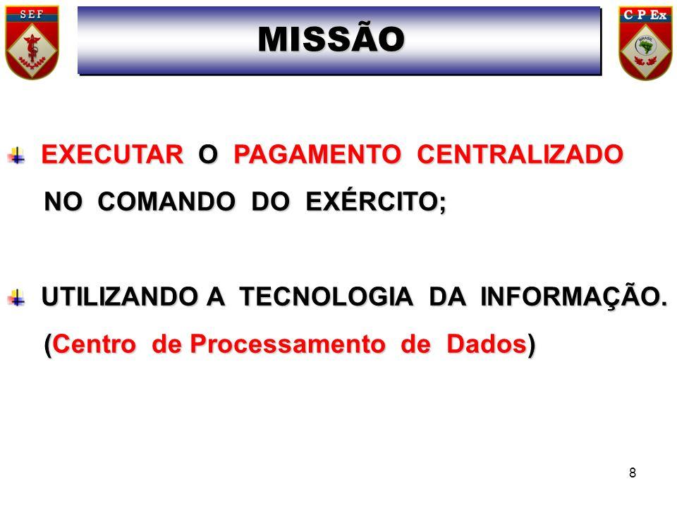 EXECUTAR O PAGAMENTO CENTRALIZADO NO COMANDO DO EXÉRCITO; NO COMANDO DO EXÉRCITO; UTILIZANDO A TECNOLOGIA DA INFORMAÇÃO. (Centro de Processamento de D