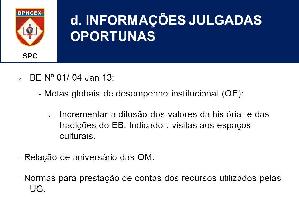 SPC d. INFORMAÇÕES JULGADAS OPORTUNAS BE Nº 01/ 04 Jan 13: - Metas globais de desempenho institucional (OE): Incrementar a difusão dos valores da hist