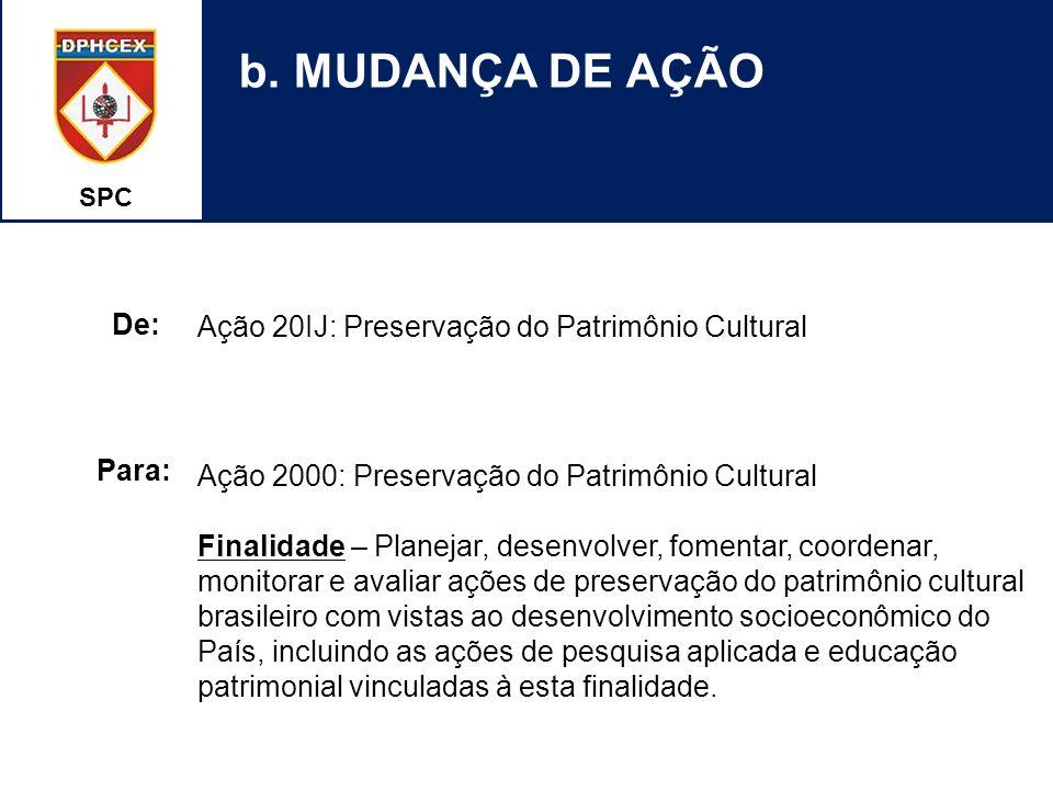 SPC b. MUDANÇA DE AÇÃO Ação 20IJ: Preservação do Patrimônio Cultural Ação 2000: Preservação do Patrimônio Cultural Finalidade – Planejar, desenvolver,