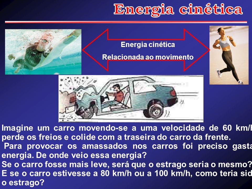 Imagine um carro movendo-se a uma velocidade de 60 km/h, perde os freios e colide com a traseira do carro da frente. Para provocar os amassados nos ca