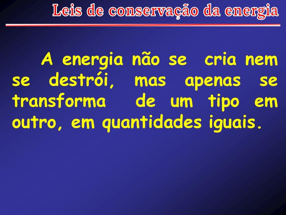 A energia não se cria nem se destrói, mas apenas se transforma de um tipo em outro, em quantidades iguais.