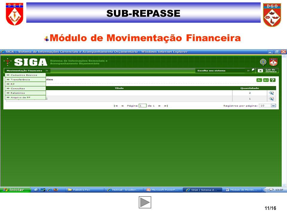 11/16 SUB-REPASSE Módulo de Movimentação Financeira