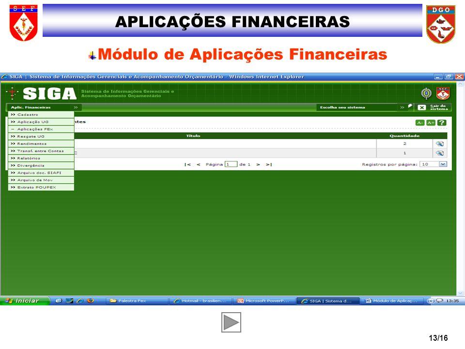 13/16 APLICAÇÕES FINANCEIRAS Módulo de Aplicações Financeiras