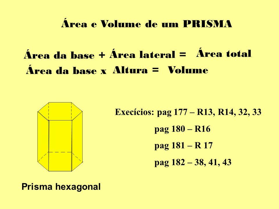 Área e Volume de um PRISMA Área da base + Área lateral = Área total Prisma hexagonal Área da base x Altura =Volume Execícios: pag 177 – R13, R14, 32,