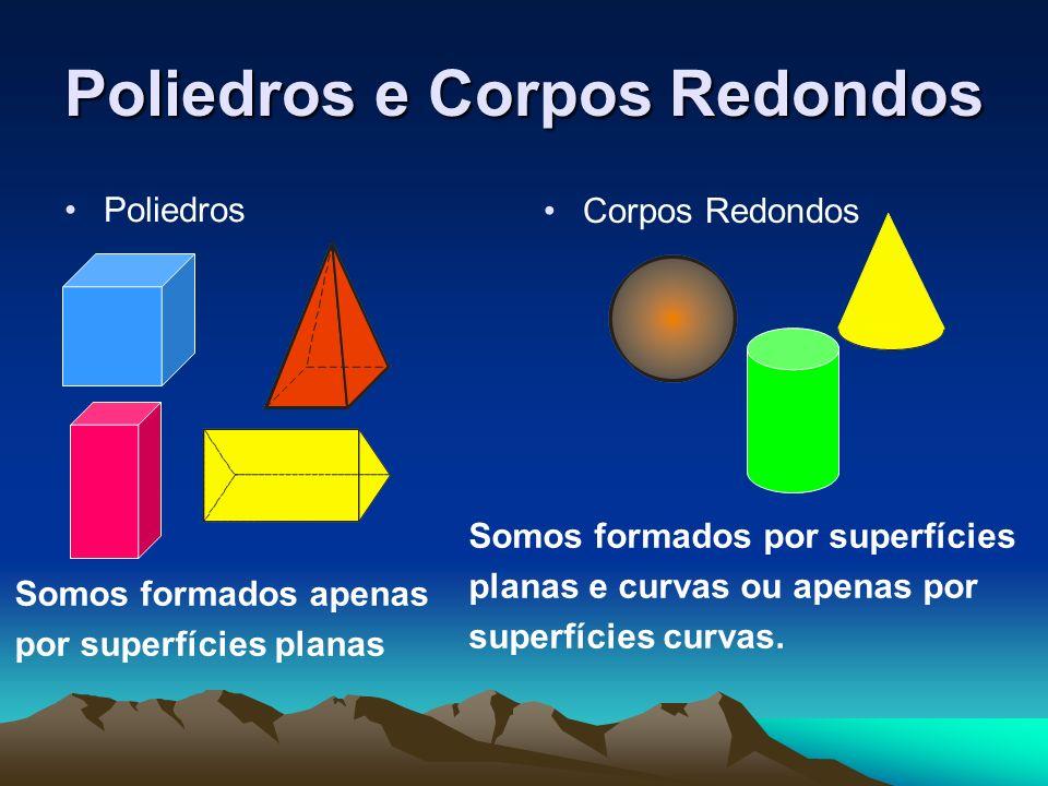Poliedros e Corpos Redondos Poliedros Corpos Redondos Somos formados apenas por superfícies planas Somos formados por superfícies planas e curvas ou a