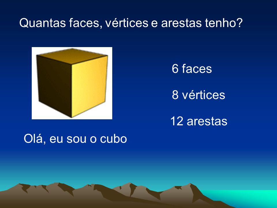12 arestas 6 faces 8 vértices Olá, eu sou o cubo Quantas faces, vértices e arestas tenho?