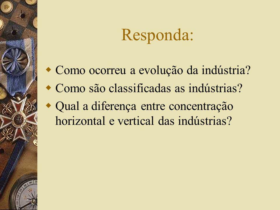 Responda: Como ocorreu a evolução da indústria? Como são classificadas as indústrias? Qual a diferença entre concentração horizontal e vertical das in