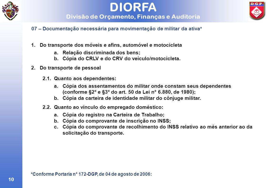 10 07 – Documentação necessária para movimentação de militar da ativa* *Conforme Portaria n° 172-DGP, de 04 de agosto de 2006: 1.Do transporte dos móv