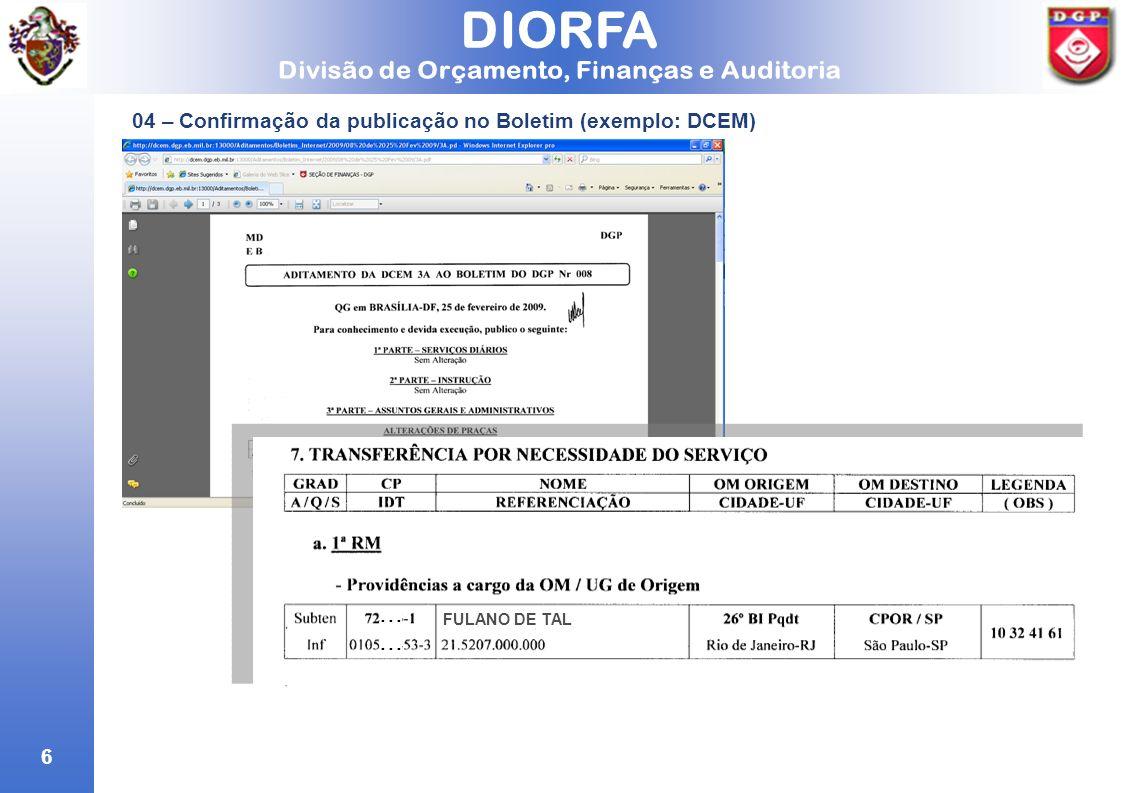 6 04 – Confirmação da publicação no Boletim (exemplo: DCEM) FULANO DE TAL...