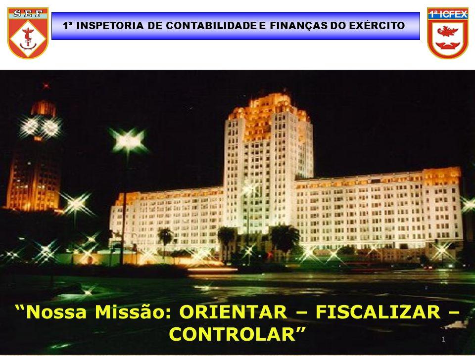 1ª INSPETORIA DE CONTABILIDADE E FINANÇAS DO EXÉRCITO Nossa Missão: ORIENTAR – FISCALIZAR – CONTROLAR 1