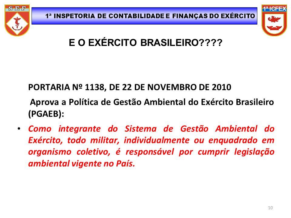 E O EXÉRCITO BRASILEIRO???? PORTARIA Nº 1138, DE 22 DE NOVEMBRO DE 2010 Aprova a Política de Gestão Ambiental do Exército Brasileiro (PGAEB): Como int