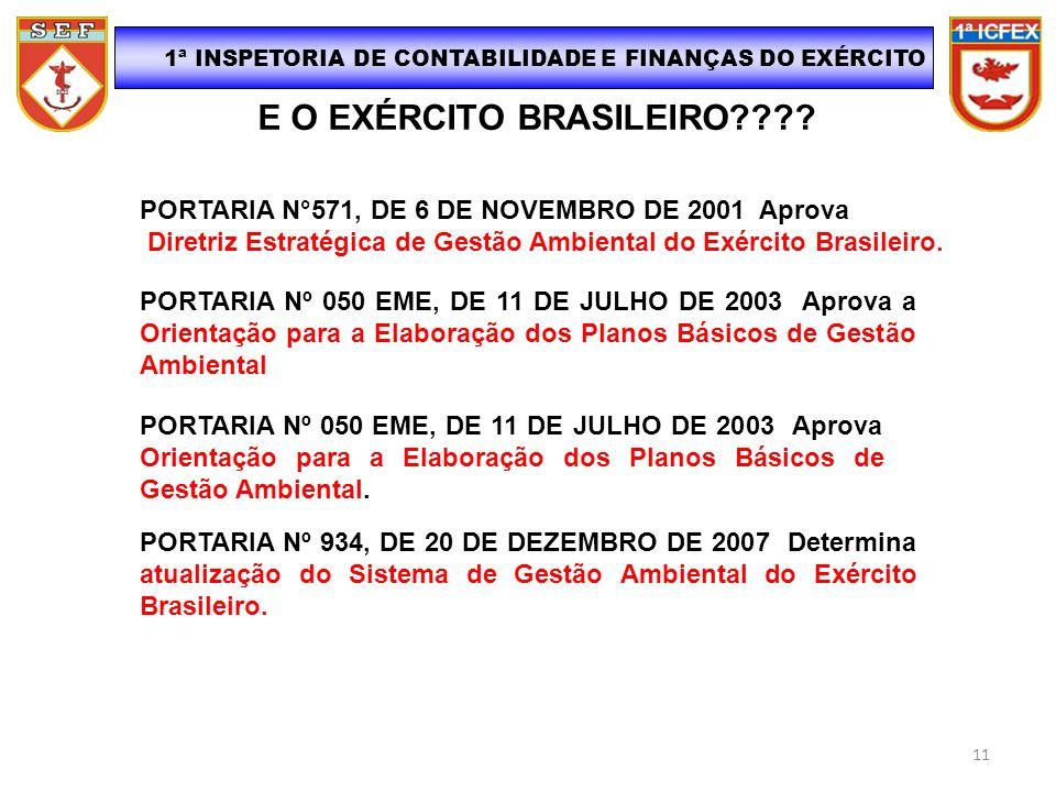 E O EXÉRCITO BRASILEIRO???? 1ª INSPETORIA DE CONTABILIDADE E FINANÇAS DO EXÉRCITO PORTARIA N°571, DE 6 DE NOVEMBRO DE 2001 Aprova Diretriz Estratégica