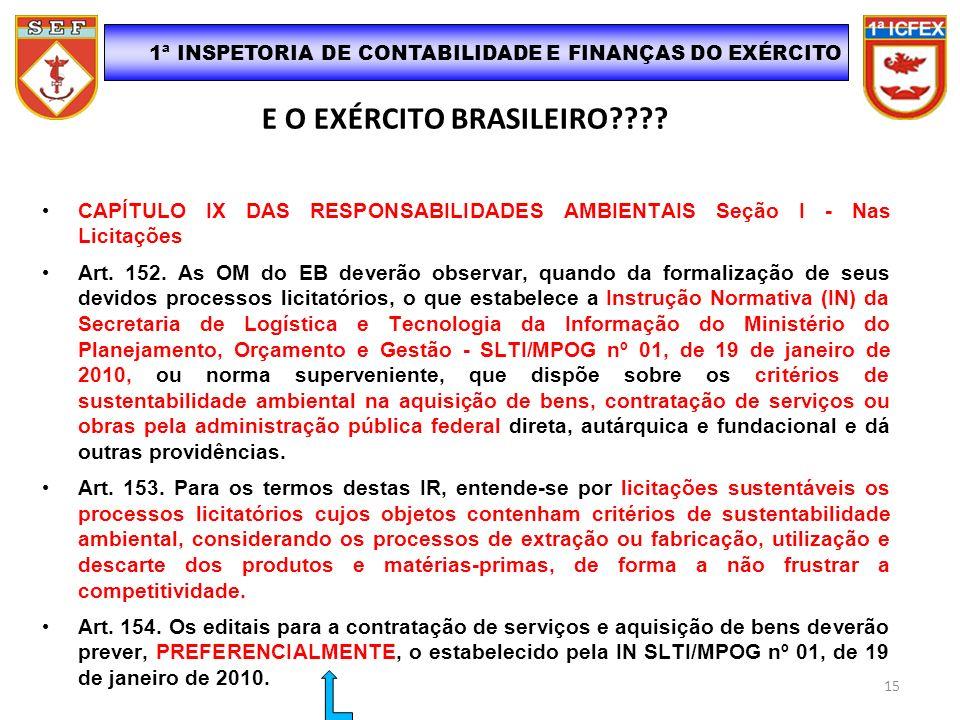 E O EXÉRCITO BRASILEIRO???? CAPÍTULO IX DAS RESPONSABILIDADES AMBIENTAIS Seção I - Nas Licitações Art. 152. As OM do EB deverão observar, quando da fo