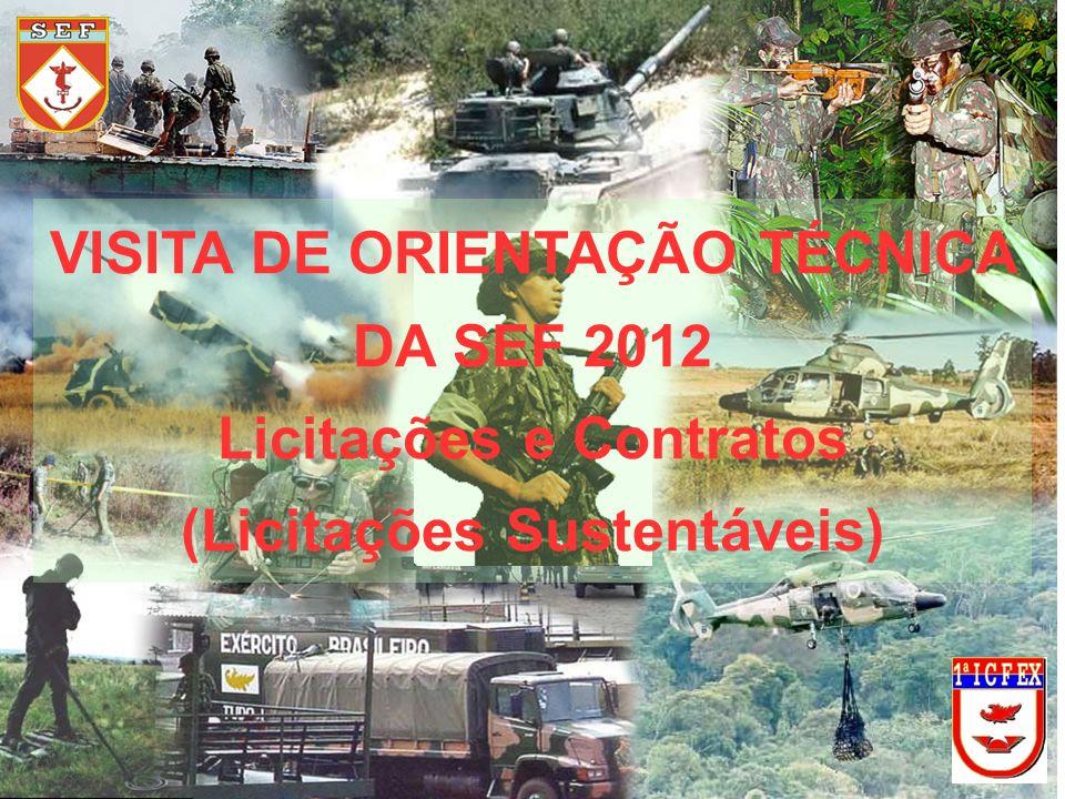 VISITA DE ORIENTAÇÃO TÉCNICA DA SEF 2012 Licitações e Contratos (Licitações Sustentáveis)