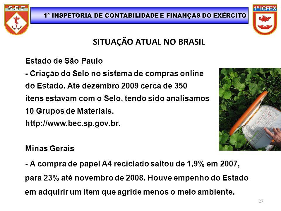 SITUAÇÃO ATUAL NO BRASIL Estado de São Paulo - Criação do Selo no sistema de compras online do Estado. Ate dezembro 2009 cerca de 350 itens estavam co