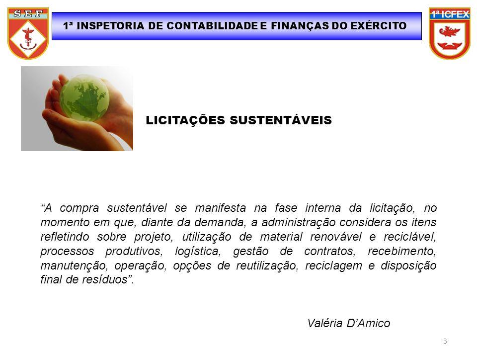 1ª INSPETORIA DE CONTABILIDADE E FINANÇAS DO EXÉRCITO LICITAÇÕES SUSTENTÁVEIS A compra sustentável se manifesta na fase interna da licitação, no momen