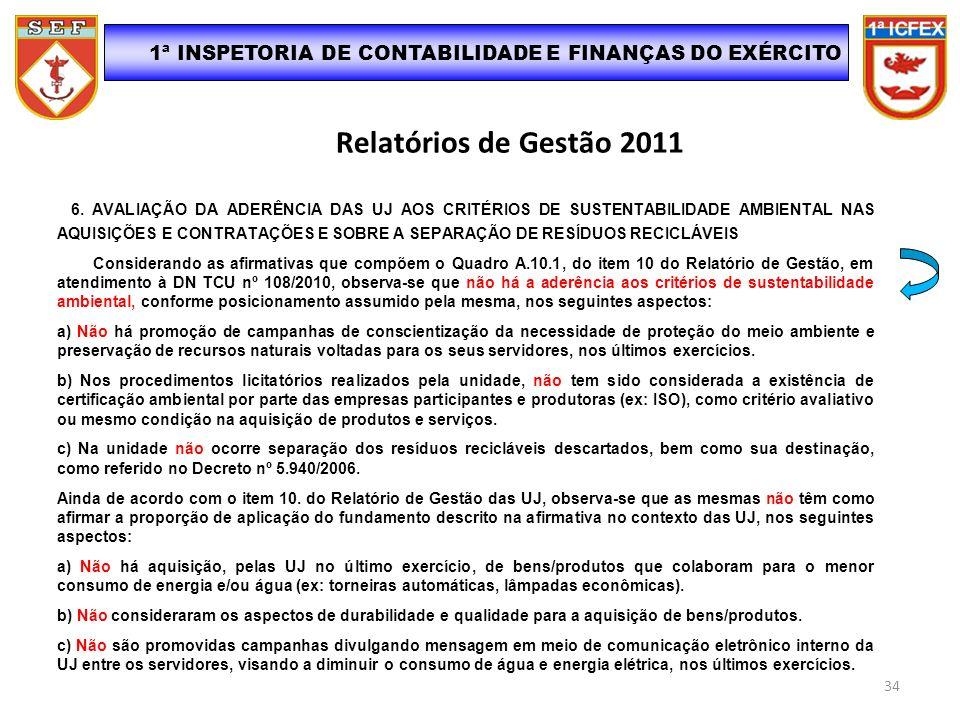 Relatórios de Gestão 2011 6. AVALIAÇÃO DA ADERÊNCIA DAS UJ AOS CRITÉRIOS DE SUSTENTABILIDADE AMBIENTAL NAS AQUISIÇÕES E CONTRATAÇÕES E SOBRE A SEPARAÇ