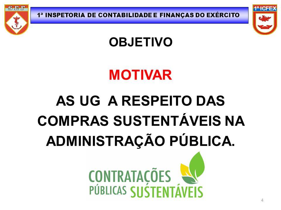 1ª INSPETORIA DE CONTABILIDADE E FINANÇAS DO EXÉRCITO OBJETIVO MOTIVAR AS UG A RESPEITO DAS COMPRAS SUSTENTÁVEIS NA ADMINISTRAÇÃO PÚBLICA. 4