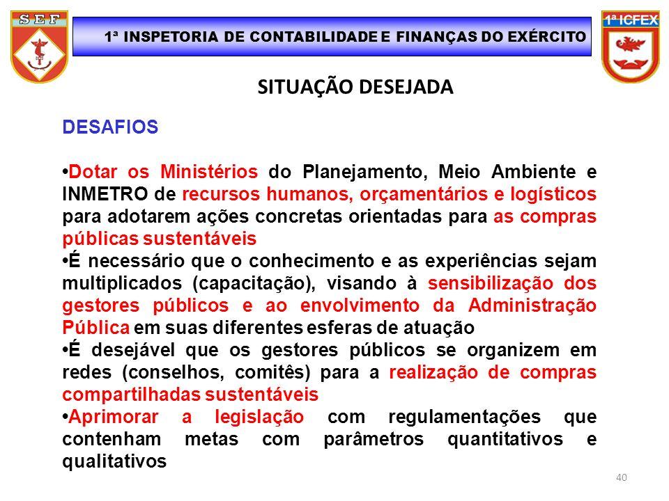 SITUAÇÃO DESEJADA 1ª INSPETORIA DE CONTABILIDADE E FINANÇAS DO EXÉRCITO DESAFIOS Dotar os Ministérios do Planejamento, Meio Ambiente e INMETRO de recu