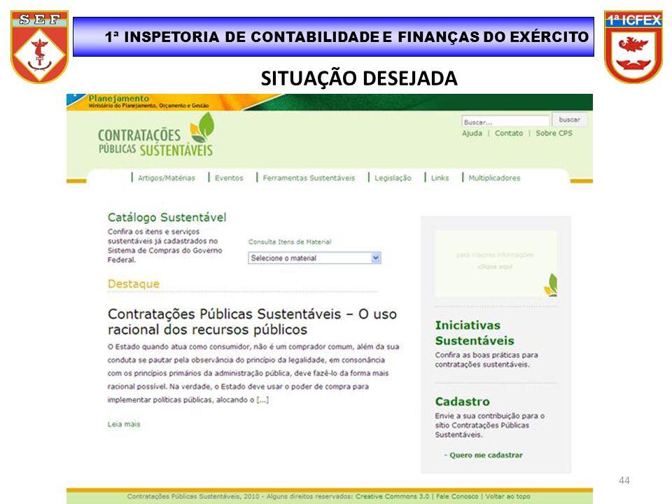 SITUAÇÃO DESEJADA 1ª INSPETORIA DE CONTABILIDADE E FINANÇAS DO EXÉRCITO 44