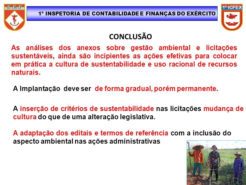 CONCLUSÃO 1ª INSPETORIA DE CONTABILIDADE E FINANÇAS DO EXÉRCITO As análises dos anexos sobre gestão ambiental e licitações sustentáveis, ainda são inc