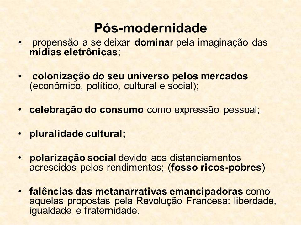 Modernidade - ritmo das mudanças, muito mais acelerada do que acontecia nas sociedades pré-modernas; - separação tempo/espaço; - finalidade das mudanç
