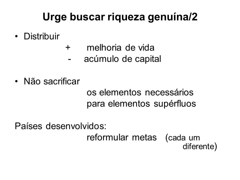 Urge buscar riqueza genuína/2 Distribuir +melhoria de vida - acúmulo de capital Não sacrificar os elementos necessários para elementos supérfluos País