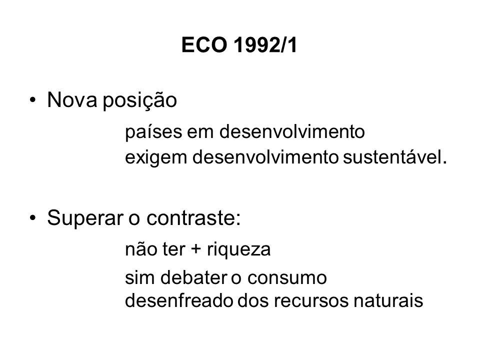 ECO 1992/1 Nova posição países em desenvolvimento exigem desenvolvimento sustentável. Superar o contraste: não ter + riqueza sim debater o consumo des