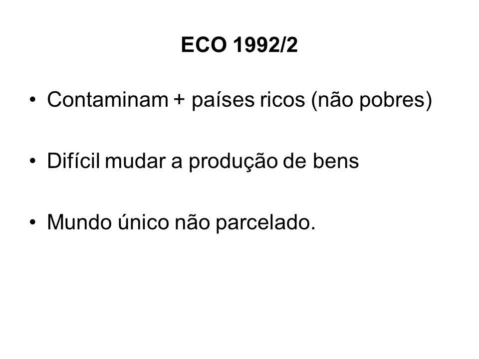 ECO 1992/2 Contaminam + países ricos (não pobres) Difícil mudar a produção de bens Mundo único não parcelado.
