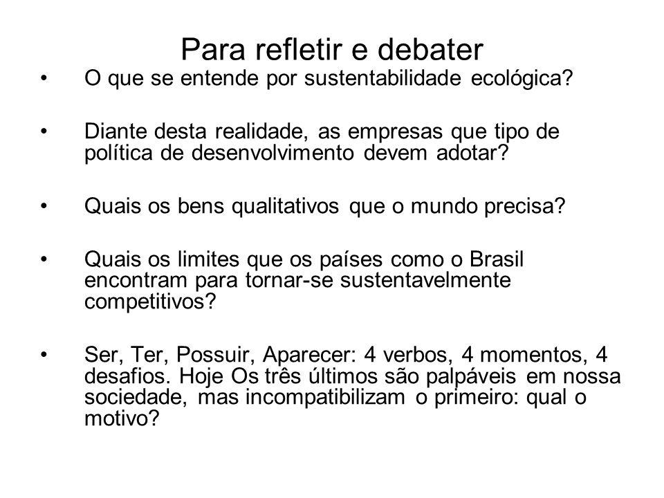 Para refletir e debater O que se entende por sustentabilidade ecológica? Diante desta realidade, as empresas que tipo de política de desenvolvimento d