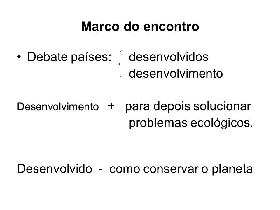 Marco do encontro Debate países:desenvolvidos desenvolvimento Desenvolvimento + para depois solucionar problemas ecológicos. Desenvolvido - como conse