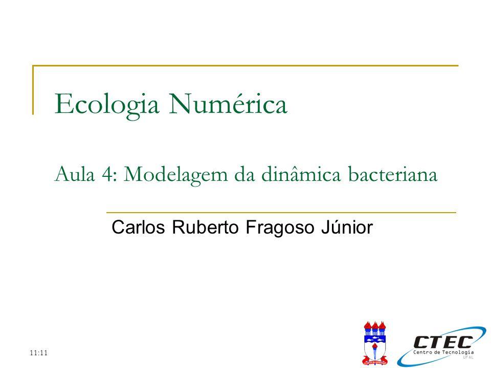 11:11 Sumário Importância do conhecimento da dinâmica de microorganismos O crescimento bacteriano Limitação do crescimento devido ao substrato Modelagem da cinética microbial em um reator fechado Modelagem da cinética microbial em um reator aberto