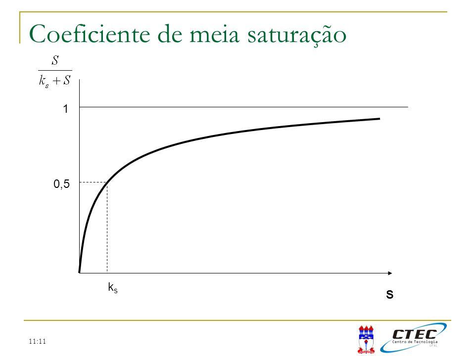 11:11 Coeficiente de meia saturação S 1 0,5 ksks