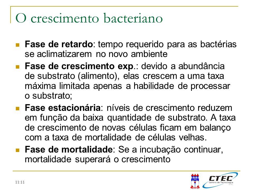 11:11 Este simples balanço de massa representa um ponto inicial para a modelagem: onde X é a concentração de bactérias (mg/L), k g é a taxa de crescimento bacteriano (h -1 ) e k d é a taxa de mortalidade (h -1 ).