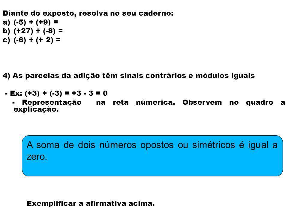 Diante do exposto, resolva no seu caderno: a)(-5) + (+9) = b)(+27) + (-8) = c)(-6) + (+ 2) = 4) As parcelas da adição têm sinais contrários e módulos