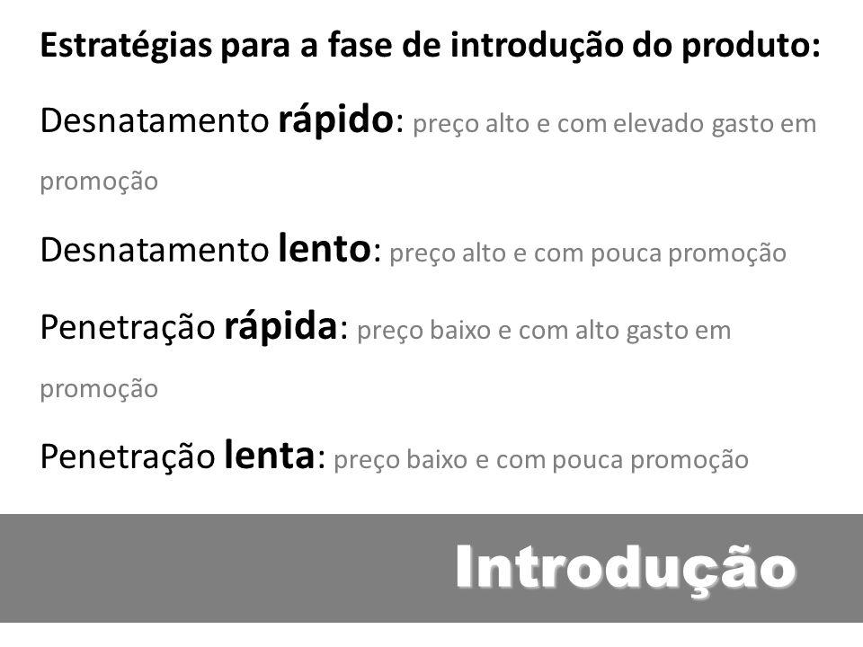 Introdução Estratégias para a fase de introdução do produto: Desnatamento rápido : preço alto e com elevado gasto em promoção Desnatamento lento : pre