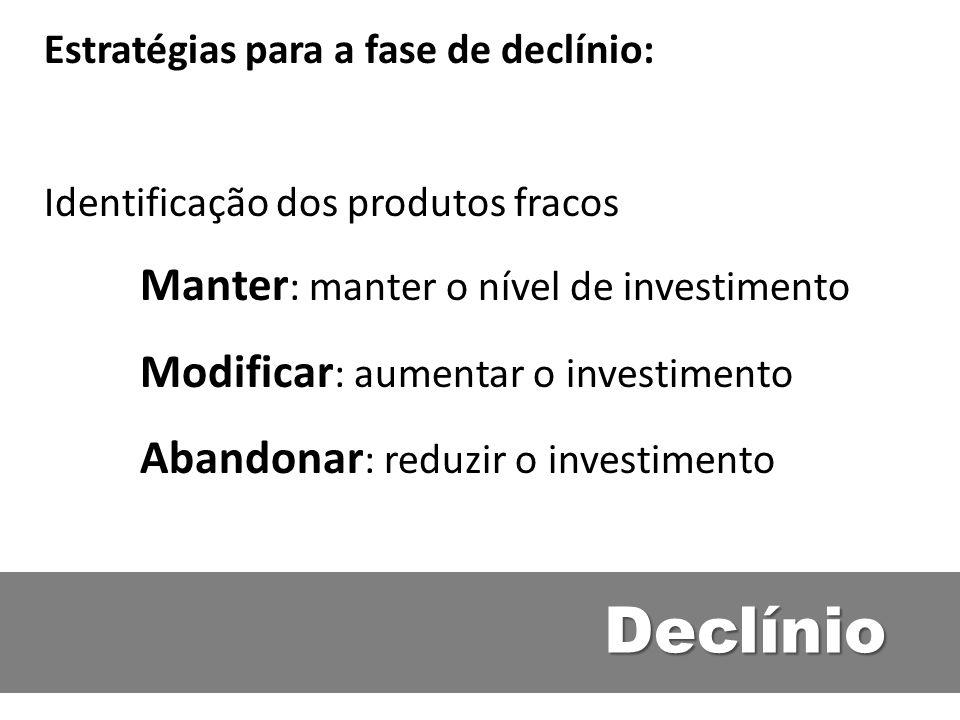 Declínio Estratégias para a fase de declínio: Identificação dos produtos fracos Manter : manter o nível de investimento Modificar : aumentar o investi