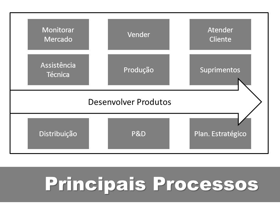Principais Processos Assistência Técnica ProduçãoSuprimentos Monitorar Mercado Vender Atender Cliente DistribuiçãoP&DPlan. Estratégico Desenvolver Pro