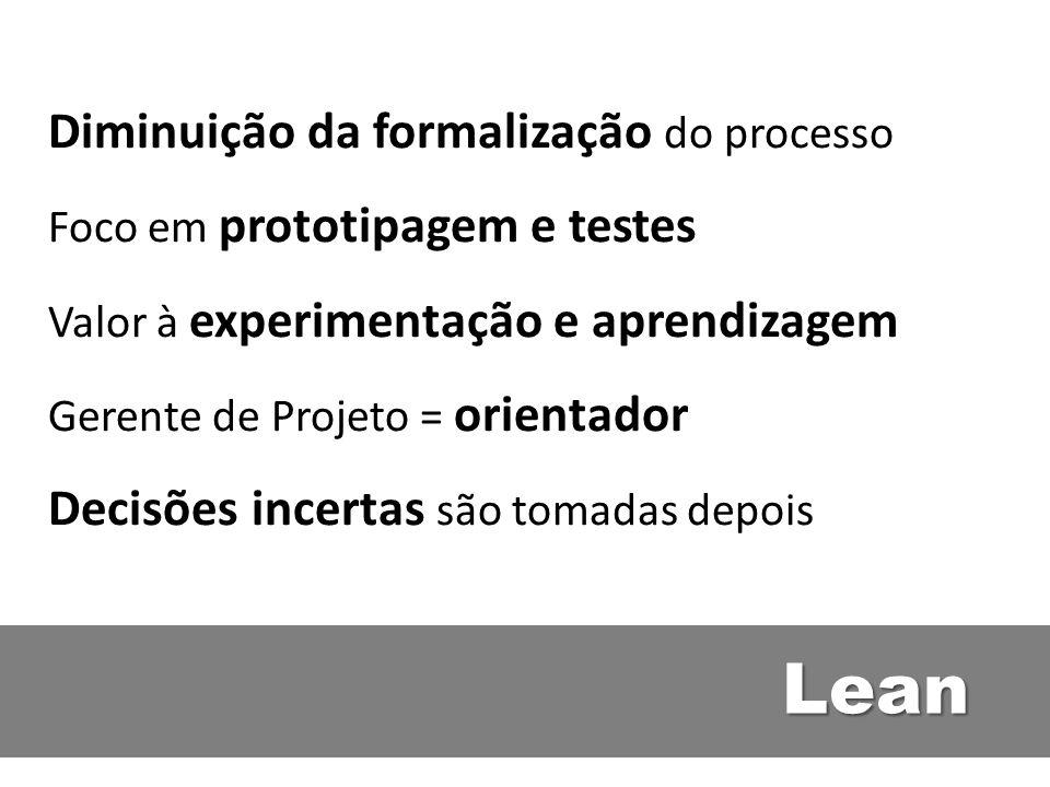 Lean Diminuição da formalização do processo Foco em prototipagem e testes Valor à experimentação e aprendizagem Gerente de Projeto = orientador Decisõ