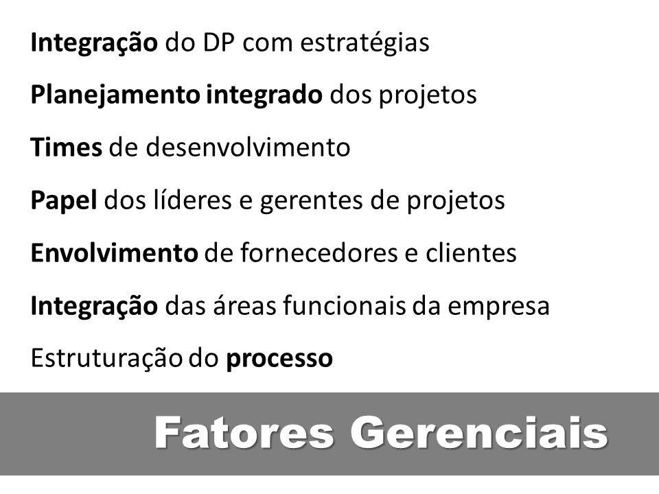 Fatores Gerenciais Integração do DP com estratégias Planejamento integrado dos projetos Times de desenvolvimento Papel dos líderes e gerentes de proje