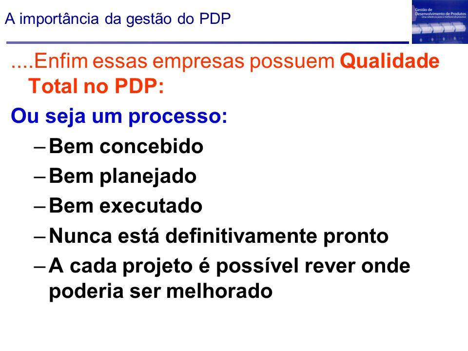 A importância da gestão do PDP....Enfim essas empresas possuem Qualidade Total no PDP: Ou seja um processo: –Bem concebido –Bem planejado –Bem executa