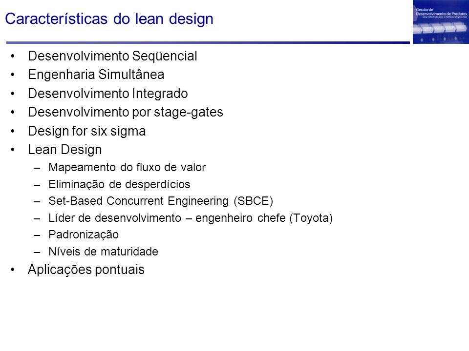 Características do lean design Desenvolvimento Seqüencial Engenharia Simultânea Desenvolvimento Integrado Desenvolvimento por stage-gates Design for s