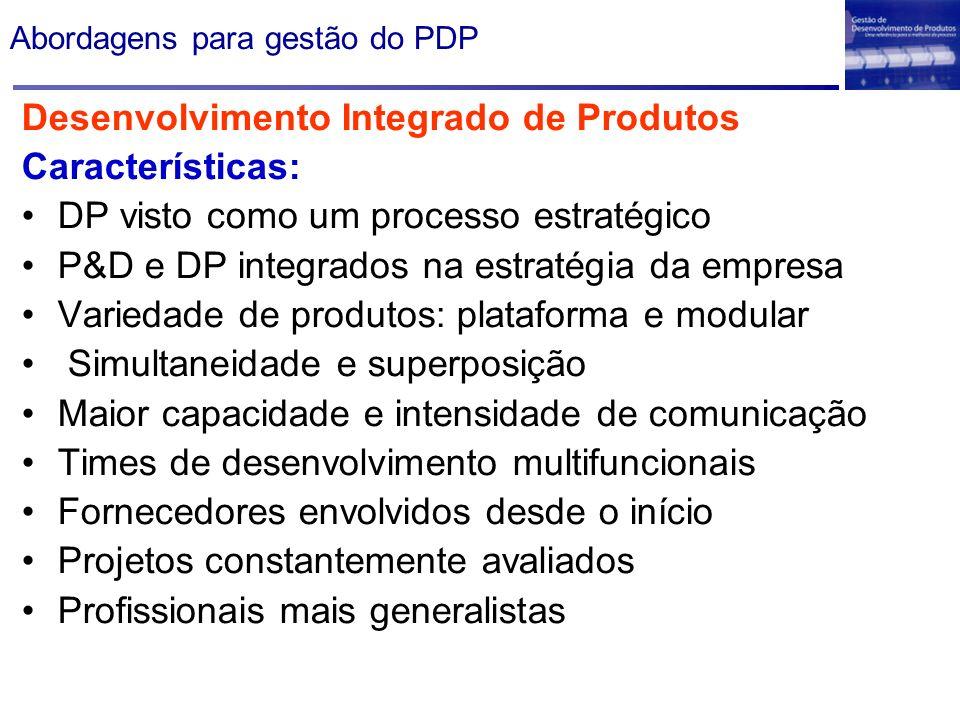 Abordagens para gestão do PDP Desenvolvimento Integrado de Produtos Características: DP visto como um processo estratégico P&D e DP integrados na estr