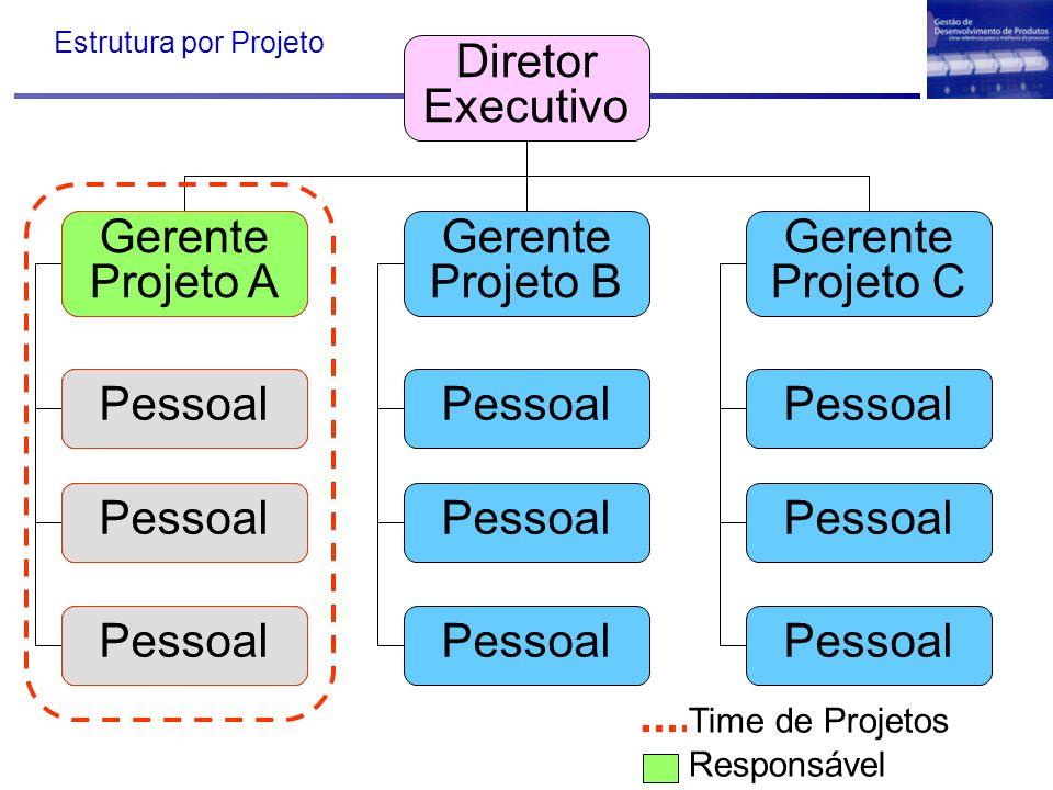 Diretor Executivo Gerente Projetos Gerente Projeto B Gerente Projeto C Pessoal Time de Projetos Responsável Gerente Projeto A Pessoal Estrutura por Pr