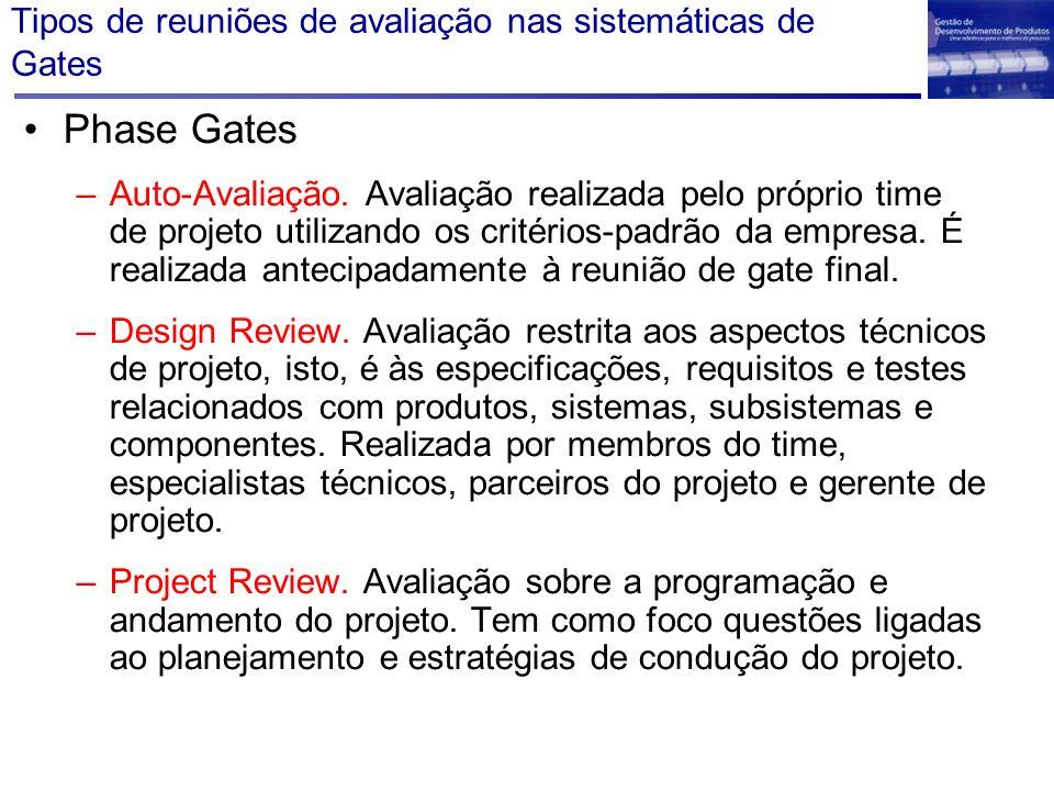 Tipos de reuniões de avaliação nas sistemáticas de Gates Phase Gates –Auto-Avaliação. Avaliação realizada pelo próprio time de projeto utilizando os c
