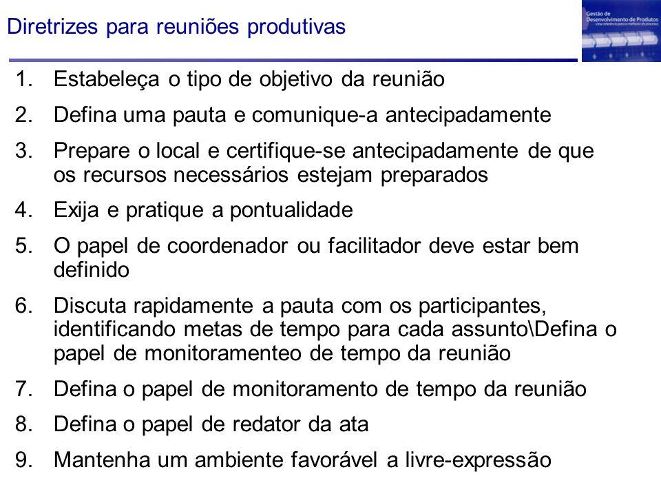 Diretrizes para reuniões produtivas 1.Estabeleça o tipo de objetivo da reunião 2.Defina uma pauta e comunique-a antecipadamente 3.Prepare o local e ce