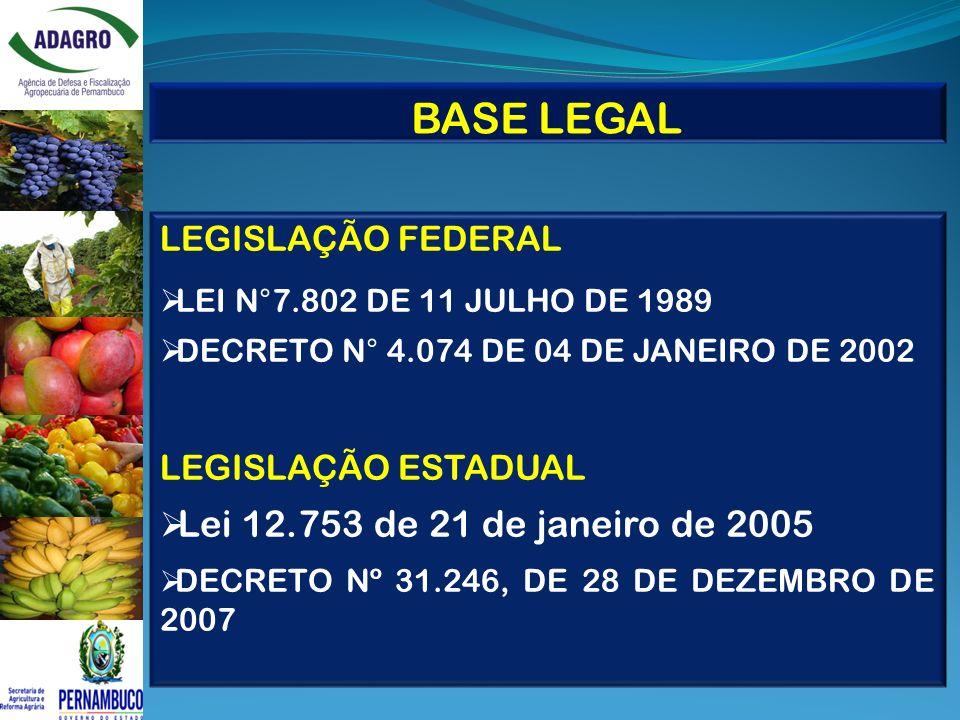 BASE LEGAL LEGISLAÇÃO FEDERAL LEI N°7.802 DE 11 JULHO DE 1989 DECRETO N° 4.074 DE 04 DE JANEIRO DE 2002 LEGISLAÇÃO ESTADUAL Lei 12.753 de 21 de janeir