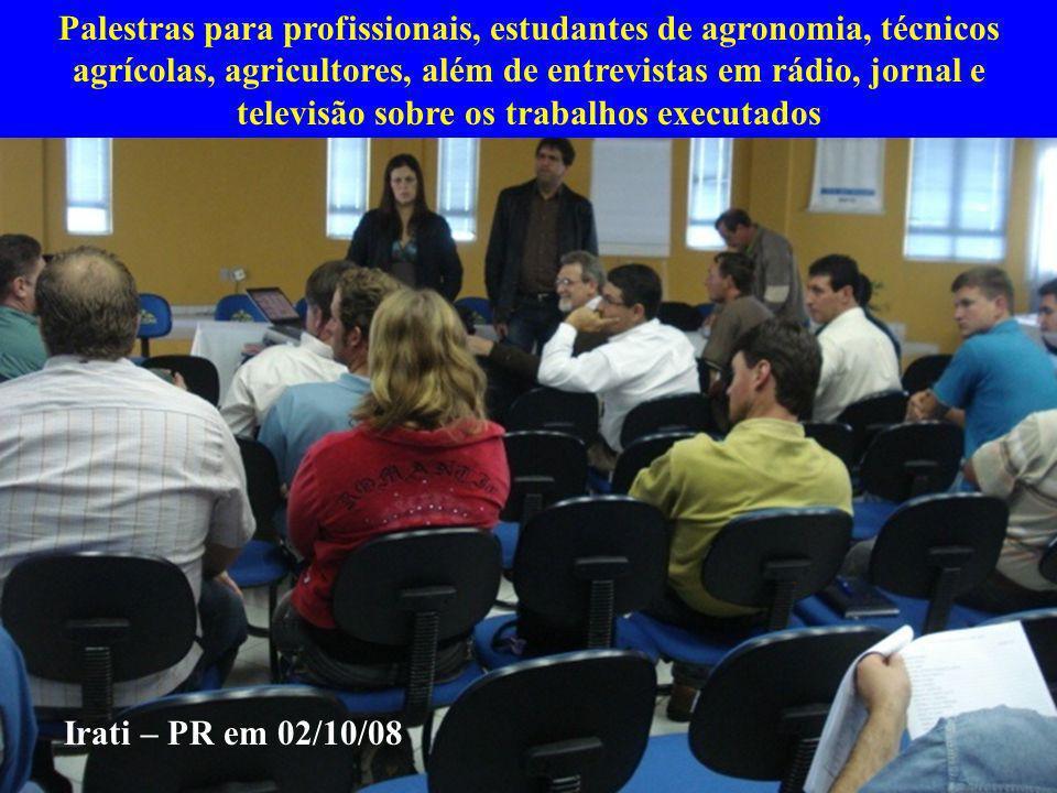 Palestras para profissionais, estudantes de agronomia, técnicos agrícolas, agricultores, além de entrevistas em rádio, jornal e televisão sobre os tra