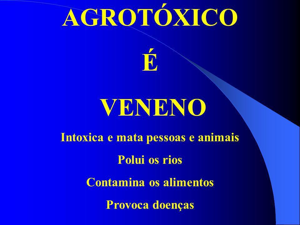 AGROTÓXICO É VENENO Intoxica e mata pessoas e animais Polui os rios Contamina os alimentos Provoca doenças